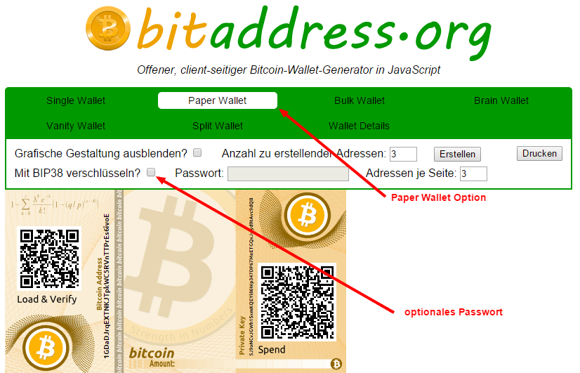 Paper Wallet auf bitaddress.org erzeugen